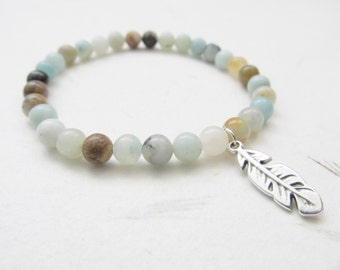 Feather bracelet, amazonite bracelet, boho bracelet