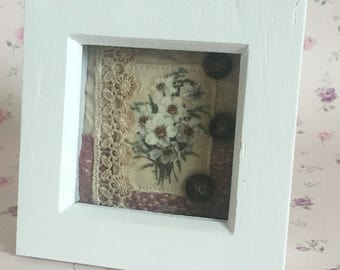 Mixed media vintage flower arrangement framed art