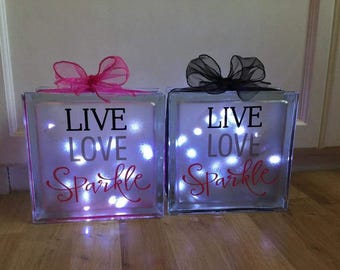 Glass blocks with lights, ideal gift for biirthdays, weddings, Christmas etc
