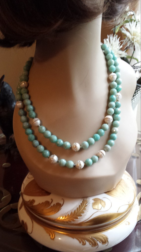 Two strand chaldelany and fresh water pearl necklace