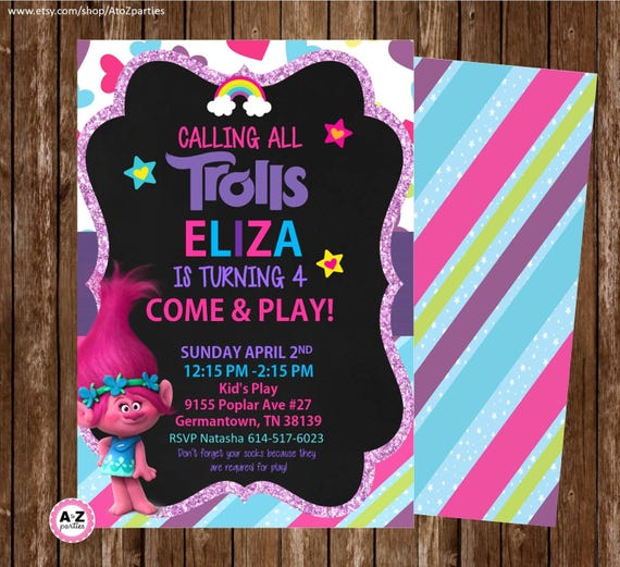 May The 4th Be With You Invitations: Troll Invitations Troll Birthday Invitation Personalized