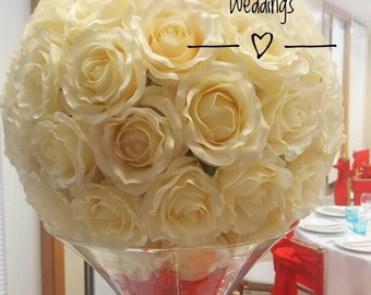 Large ivory rose ball silk for centrepiece