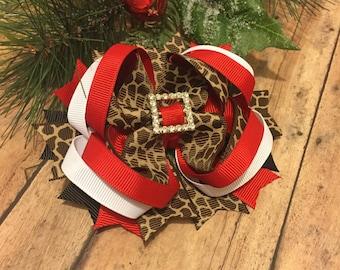 Cheetah hair bow - Christmas Hair bow - Holiday bow, Cheetah Christmas bow - Boutique bow - Christmas Boutique Bow - Animal - Sparkle