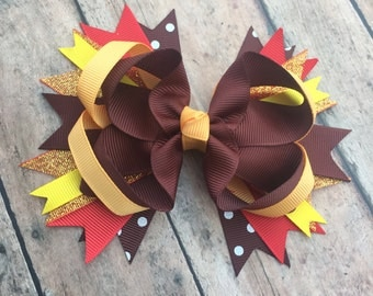 Thanksgiving Hair bow - Fall Hair bow - red, brown, orange, and gold bow - Fall Hair Clip - sparkle bow - Thanksgiving Accessory
