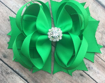 Green Bow - Green Hair Bow - Green Hair Clip - Solid Green Bow - Hair bows - Dressy Green Bow - Hairbow - Green Bows - Christmas bow - Bow