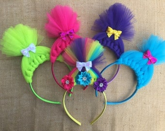 Troll Headband - Troll Headbands - Trolls - Tulle Bow - Trolls Bow - Troll Hair Headband - Headband - Troll Crown - Troll Party - Tulle hair