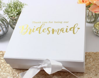 Bridesmaid Box, Bridesmaid Wedding Thank You Keepsake Gift Box to fill with your own gifts.  Metallic gold, copper or Silver Text