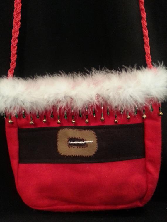 Small Handmade Santa Purse W/Red/Green Bead Mix w/gold bells Trim
