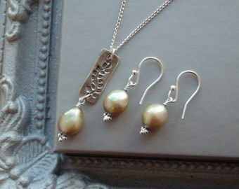 Silver Pendant Necklace, Pearl Necklace, Pearl Earrings, Matching Jewellery, Silver Jewellery, Silver Fern Pendant