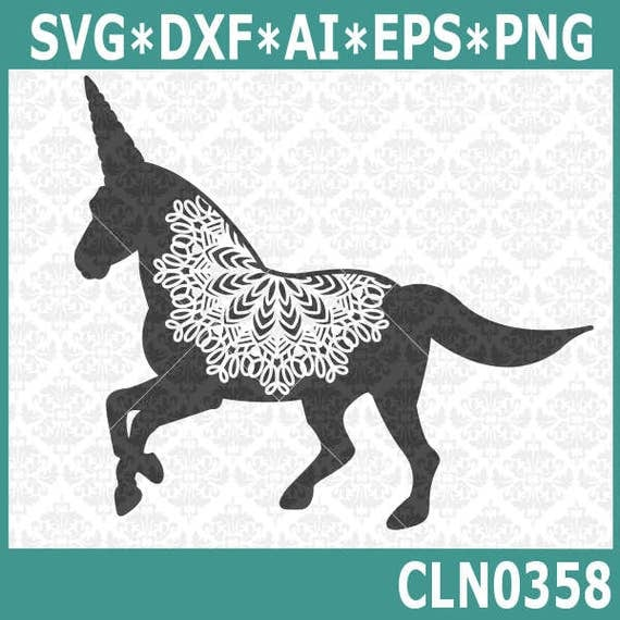 CLN0358 Unicorn Mandala Zentangle Filigree Unicorns Horns SVG DXF Ai Eps PNG Vector Instant Download Commercial Cut File Cricut Silhouette