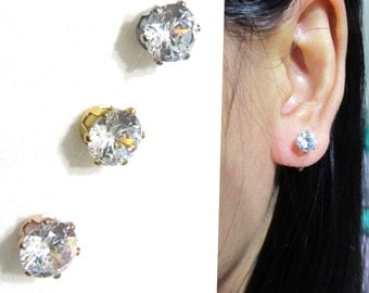 CZ Faux Diamond Rhinestone Clip on earrings |11G| Invisible Bridal clip on stud earrings, Wedding clip-on earrings, Non Pierced earrings