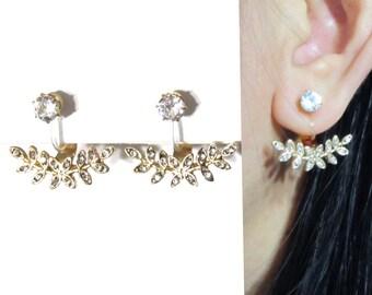 Micro Crystal CLIP-ON Ear Jackets Earrings 16C Gold Leaf Wedding Clip on Earrings Rhinestone Clip on Bridal Clip on Non Pierced Earrings
