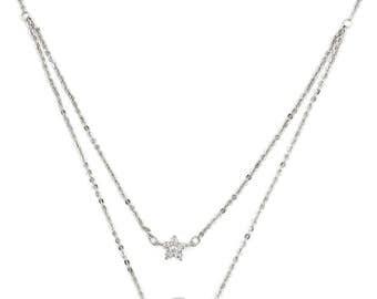 Duplexes mini flowers crystal necklace