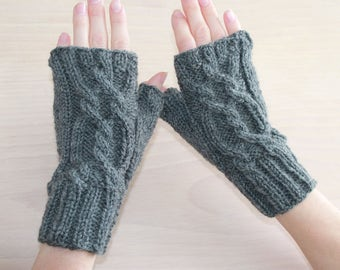 Womens knit wool fingerless gloves with twisted cable
