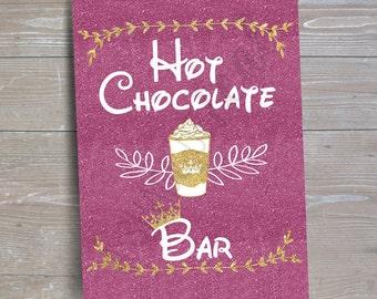 "Disney Princess ""Hot Chocolate Bar"" Sign // INSTANT DOWNLOAD // Party Decor // Printable, Digital"