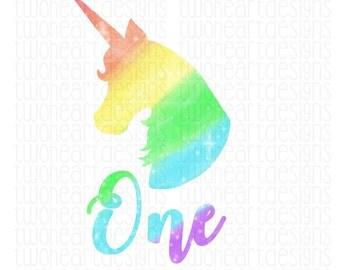 DIGITAL Unicorn Rainbow Glitter ONE First Birthday DIY Iron On - Digital Download - You Print