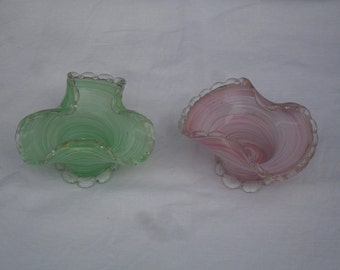 Vintage set of two glass colorful ornamental items - colored glass - small vintage glass bowls - glass decor glass - vases for centerpieces
