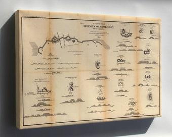Canvas 24x36; Map Defenses Of Charleston, South Carolina 1865