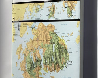Canvas 24x36; Map Of Acadia National Park, Maine 1982