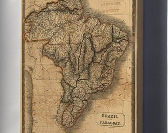 Canvas 24x36; Map Of Brazil And Paraguay 1828