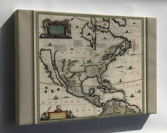 Canvas 24x36; Map Of North America Pre United States 1652