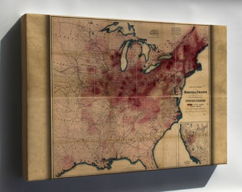 Canvas 24x36; Map Of Phthisis Or Tuberculosis In United States Of America 1874