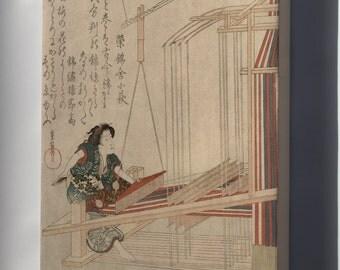 Canvas 16x24; Japanese Weaving C1820 Hataori (Weaving) Woodcut Print