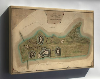 Canvas 16x24; Map Of The Isle Aux Noix Quebec Canada 1760