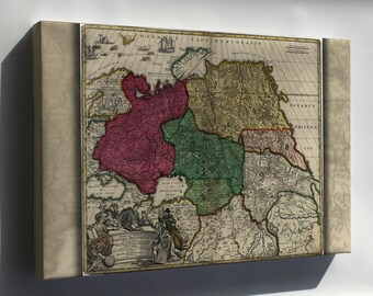 Canvas 16x24; Map Of Western Russia 1704