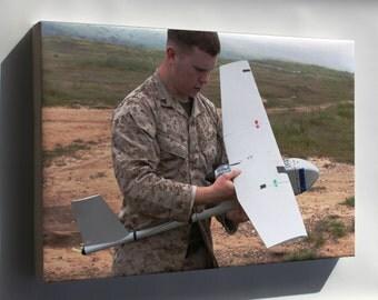Canvas 16x24; Marine Corps 1St Air Naval Gunfire Rq-11A Raven Uav Drone