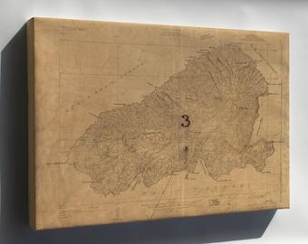 Canvas 16x24; Map Of Kahoolawe, Hawaii  Topography 1926