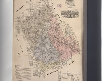 Canvas 16x24; Map Of Comanche County  State Of Texas 1876