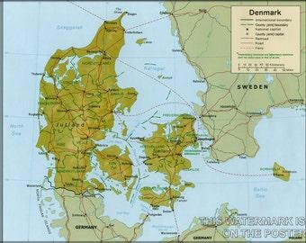 16x24 Poster; Denmark Satellite Map Satellite Image Of Denmark In July 2001