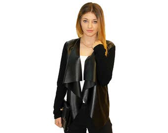 Womens Faux Leather Open Waterfall Cardigan