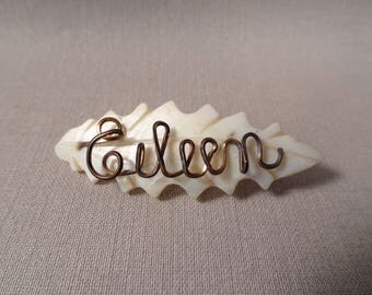 EILEEN Mother of Pearl Wire Name Brooch