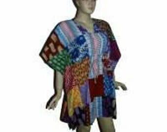 Patch work poncho/ recycled cotton/cover-up/top/plus size