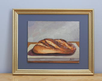 Original Framed Oil Painting Still Life, Bread by Aleksey Vaynshteyn