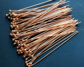"Copper Head Pins 21 gauge Ball Pins 2"" Headpins Package of 30 Pieces"