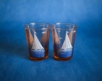 Vintage Shot Glasses Set of 2, Vintage French Nautical Shot Glasses Pair, Housewarming Gift, Home Decor, Sailboat Drinking Glasses