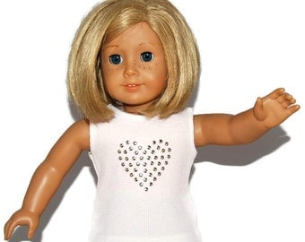 "White Ribbed Tank Top with Heart Nailhead Bling - Doll Clothes made to fit 18"" American Girl Dolls"