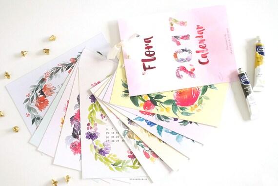2017 Calendar (DIGITAL FILE VERSION) ,Wall Calendar, Floral Calendar, Hand Lettering, Illustrated Calendar, watercolor calendar