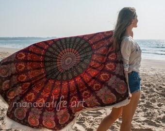 Oversized Circle Towel Oversized Round Towel Mandala Beach Throw Mandala Round Throw Large Circle Towel