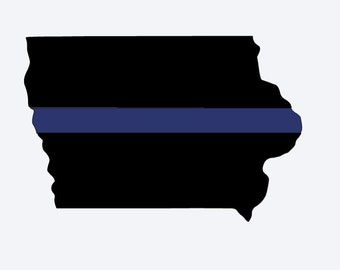 Iowa Police Support Decal, Blue Lives Matter, Iowa Blue Line Decal