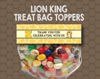 Baby Lion King Treat Bag Toppers Labels Wrappers Printable Uprint Digital DIY Instant Download