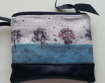 Hand Painted Canvas and Leather Wristlet Free Shipping