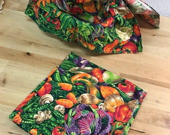 Napkins pair Handmade spring vegetables and basket