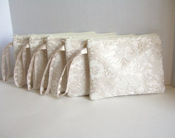 Set of 7 - Champagne Wristlet - Champagne Clutch - Ivory Lace Clutch - Ivory Wristlet - Lace Wristlet - Flower Girl Clutch - Satin Clutch