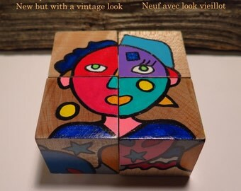 Puzzle wooden cubes Pikasso association colors and shapes toy wooden block toy game