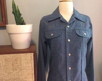 Vintage women's denim button down blouse/Western/Sears/Jean shirt/Size:Medium