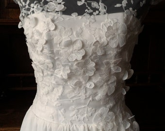 Vintage Inspired Tea Length Wedding Dress with Lace Corset, Illusion Lace Neckline, V Shaped Back Cutout, Sweetheart, Chiffon Skirt
